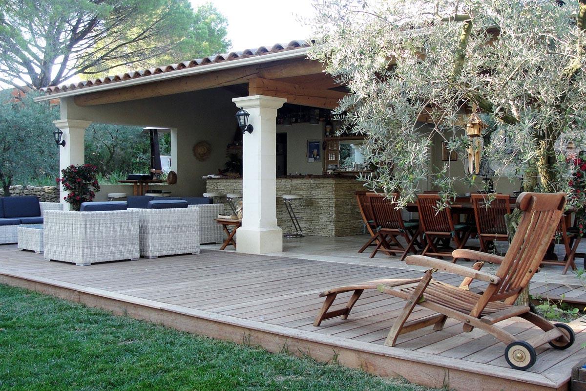Jardin m diterran en avec implantation piscine et terrasse - Piscine plein air aix en provence ...